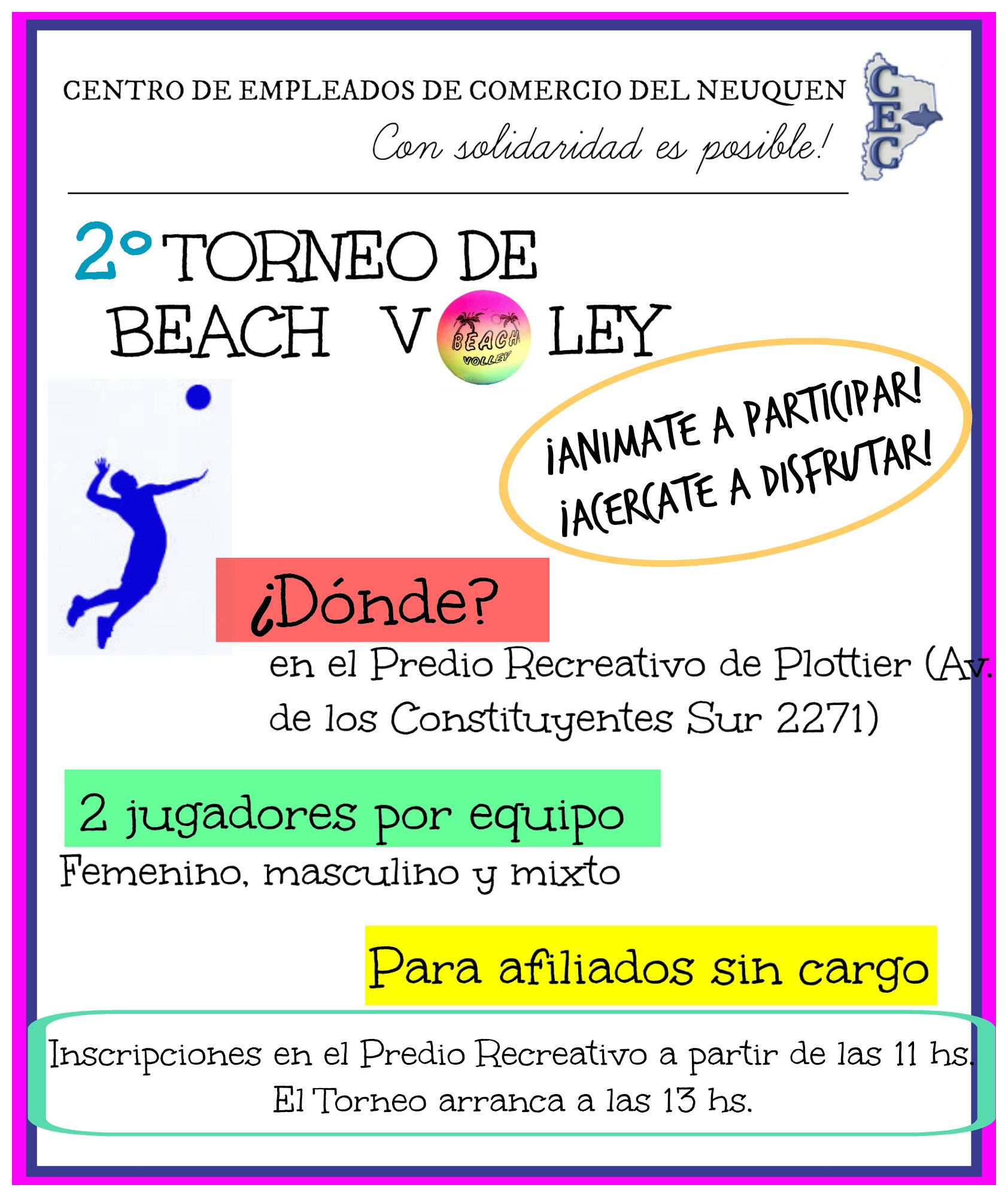 ESTE DOMINGO 7 DE FEBRERO TE ESPERAMOS EN EL PREDIO RECREATIVO DE PLOTTIER